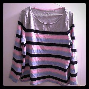 Gray/Pink/Blue Stripped Long Sleeve Shirt